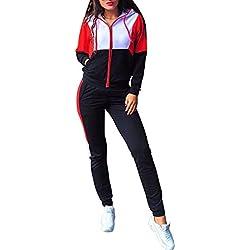 Hibote Chándal Sexy Tops y Pantalones de Mujer Conjunto de Dos Piezas Conjunto Top + Pantalones Trajes Mujerses Negro S