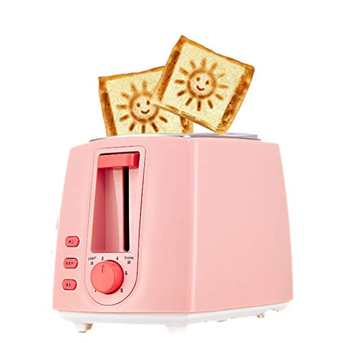 JINRU Toaster 2 Scheibe, Defrost-Funktion, Extra Wide Slot Compact Edelstahl-Toaster für Brotbeete, rosa (Rosa Toaster Ofen)