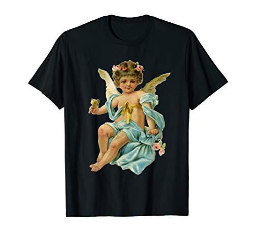 Blauer Schmetterling Mit Weißem T-shirt (Engels-Weinlese-Engel mit einem Schmetterling u. Blumen T-Shirt)