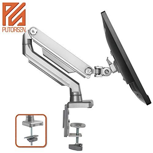 PUTORSEN® Monitor Tischhalterung - Ergonomische Mechanischfeder Schwenkbare Neigbare Höhenverstellbar Einarm Monitorhalterung für 17