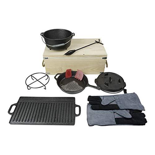 CAGO Dutch Oven Set aus Gusseisen inkl.Holztruhe mit Grill-Pfanne, Handschuhe, Deckel-Heber