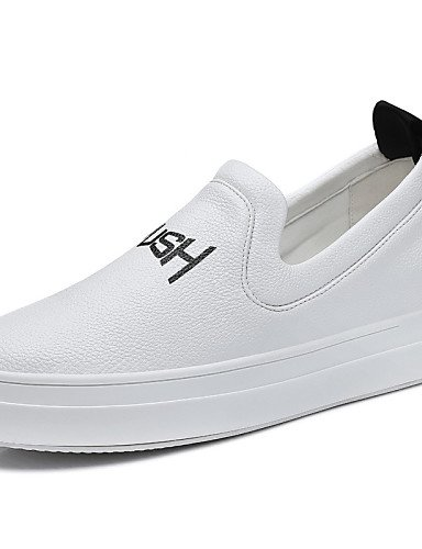 ZQ Scarpe Donna-Sneakers alla moda-Ufficio e lavoro / Formale / Casual-Comoda-Piatto-Finta pelle-Nero / Bianco , white-us8 / eu39 / uk6 / cn39 , white-us8 / eu39 / uk6 / cn39 black-us7.5 / eu38 / uk5.5 / cn38