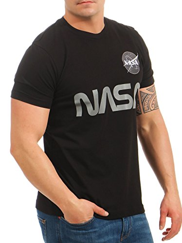 Alpha Industries Herren Oberteile/T-Shirt NASA Reflective Black