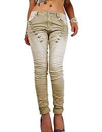 5446dc914af2 Mozzaar Damen Push up Jeans Hose Super Stretch verwaschen mit Zier  Knopfleiste in grau beige blau
