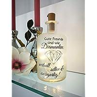 AScreativ Dekoflasche mit Beleuchtung - Freunde sind Diamanten LED Leuchte Leuchtflasche Bottlelight Lichterkette Geschenk Flaschenlicht
