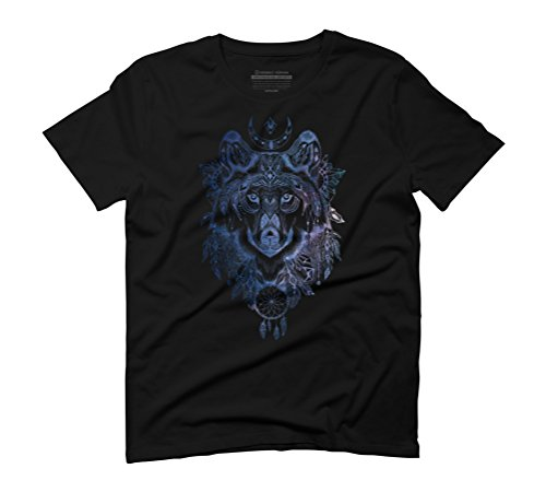 Spirit Wolf Men's Graphic T-Shirt - Design By Humans Black