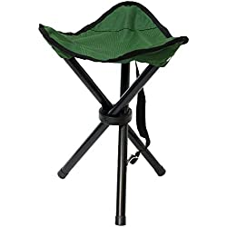 Eyepower Taburete Plegable de Campamento | Banquillo Ideal para IR de Pesca Viaje Camping Acampada etc | Práctica Sillita Trípode fácil de Transportar | Verde