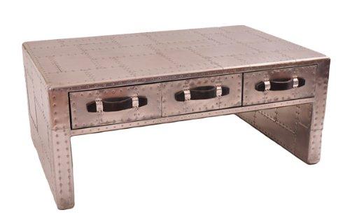 Couchtisch Pickwell aus Aluminium mit Vintage-Ledergriffen