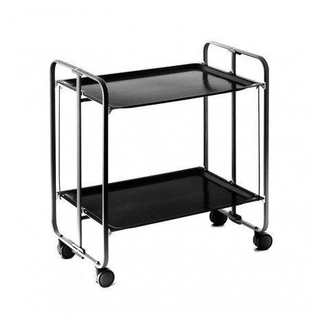 Metall Beschichtetem Rahmen (Ausrollen und Rollwagen faltbar. METALLIC Rahmen in schwarzer Farbe, Melamin Tabletts aus schwarz beschichtetem)