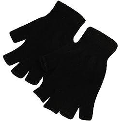 Qiao Nai(TM) 1 Par Tramo De Punto Guantes Hombres Mujeres Sin Dedos Invierno Caliente Mitones (Negro)