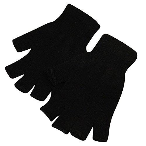 Qiao Nai (TM) Unisexe Gants Mitaines Sans Doigts Tricoté Crochet Demi-Doigts Adulte Chaude Hiver Doux Cadeau (Noir)