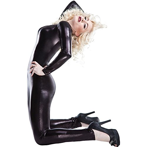 Eastlion Women's Tight Faux Leather PU Wetlook Dual Zipper Nightclub Bodysuit Sexy CatSuit Clubwear