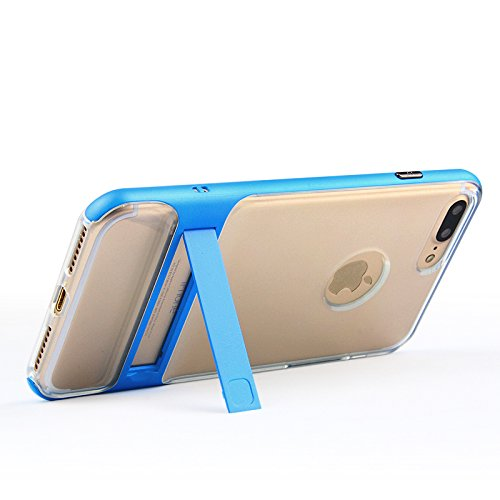 iPhone 7, iPhone 7, Trasparente Ultra Sottile Custodia Cover [Crystal Clear] KIO TPU trasparente Custodia in silicone Case con integrato Kick Stand per Apple Iphone 7 iPhone 7 bianco Blauer