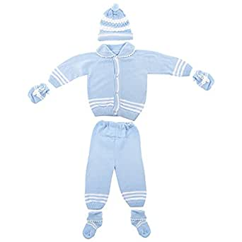 Baby Bucket NewBorn Woolen Sweater Full Suit 5-Pieces Set, 0-3 months(Blue,8Z-SEHL-32K4)