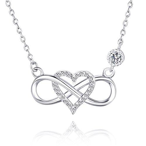 BlingGem Damen Unendlichkeit Herz Für immer zusammen Kette aus Weißgold vergoldet 925 Sterling Silber Halskette Einstellbar