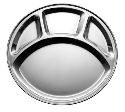 SSSILVERWARE Stainless Steel Four Compartment Round Plate / Thali/ Mess Tray/ Dinner Plate Set of 1 pcs- 33.5 cm each  available at amazon for Rs.187