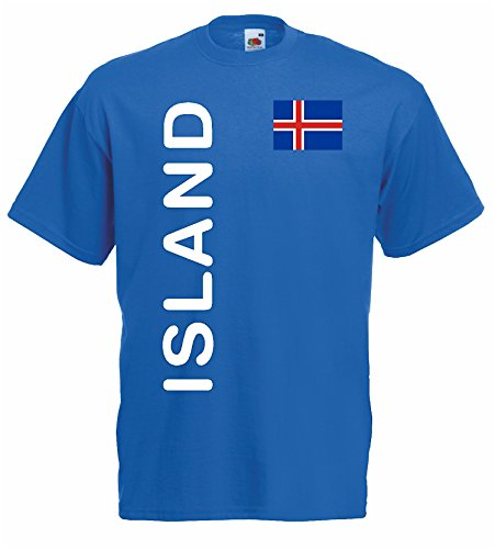 World-of-Shirt Herren T-Shirt Island EM 2016 Trikot Fanshirt|blau-L