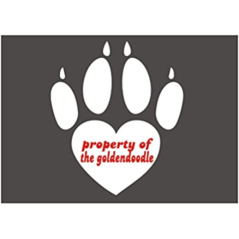 Teeburon Propoerty of Goldendoodle Paw Print Sticker