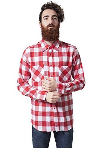 Urban Classics TB297 Herren Regular Fit Freizeit Hemd Checked Flanell Shirt, Gr. Kragenweite: 41 cm (Herstellergröße: M), Mehrfarbig (wht/red 237)