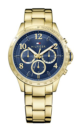 tommy-hilfiger-dani-womens-quartz-watch-with-blue-dial-analogue-display-and-yellow-stainless-steel-g