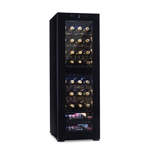 Klarstein Bellevin • frigorifero per vini e bevande •45 L • 16 bottiglie • 2 zone • doppiamente isolato • 6 ripiani in metallo • display LCD • pannello di controllo touch • autonomo • nero