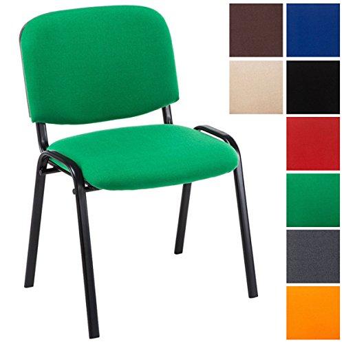 Clp sedia visitatore ken imbottita | sedia attesa imbottita e foderata in tessuto | sedia impilabile con capacità di carico 120 kg | sedia classica con telaio in metallo, 4 gambe | sedia conferenza con schienale verde