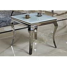 Beistelltisch 60 x 60 x 50 cm Ina Nachttisch weiß Tisch Büro Edelstahl Glas Barock Stil weiss