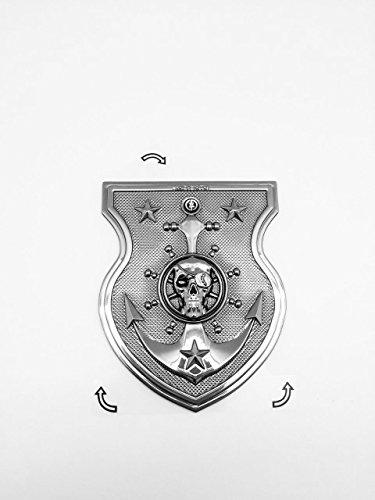 3D Custom weicher flexibler chrom Pirat Reaper Totenkopf Emblem Aufkleber (Piraten Custom)
