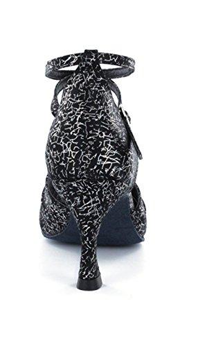 Minitoo da donna cinturino alla caviglia taglio svasato tacco sandali comodi scarpe danza moderna Floral Black
