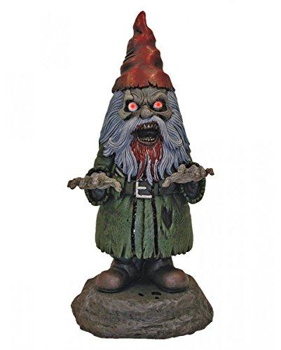 it leuchtenden LED Augen als gruselige Halloween Deko (Zombie Gartenzwerg)