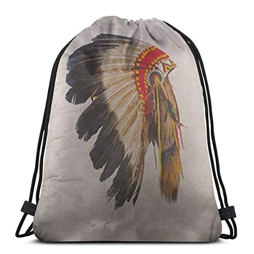 Kostüm Mädchen Matador - Indianer Häuptling Kopfschmuck Maskottchen Kostüm Tribal Feder Kordelzug Rucksack Sport Sporttasche für Frauen Männer Kinder 14,2 x 16,9 Zoll