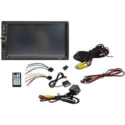 """7018G 2 DIN Autoradio FM multimédia GPS Navigation 7"""" HD Écran Tactile Bluetooth MP5 Audio stéréo Support AUX (Noir)"""