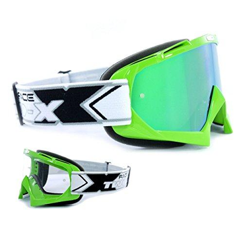 TWO-X Race Crossbrille grün Glas verspiegelt grün MX Brille Motocross Enduro Spiegelglas Motorradbrille Anti Scratch MX Schutzbrille