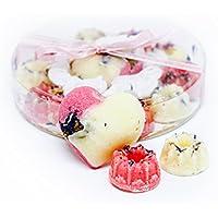"""'emarelle""""Wild Rose 11er regalo Juego de rosas Corazones de baño Bombones de anti-edad baño con bio Shea de lujo y Manteca de Cacao & Vegano), 11unidades)"""