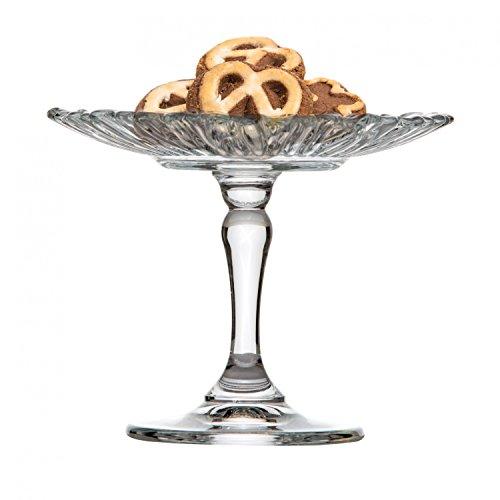 VAN WELL Pasabahce Mini Pâtisserie en verre, rond Ø 125 mm, H 105 mm, petit Présentoir à gâteaux, gâteaux Support pour praliné + Truffe, geschliffene cristal de fleurs