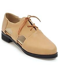 Sandalias de Verano Mujer Baotou Plana Color Puro Amarre Hueco Casual Salvajes Pequeños Zapatos de Cuero
