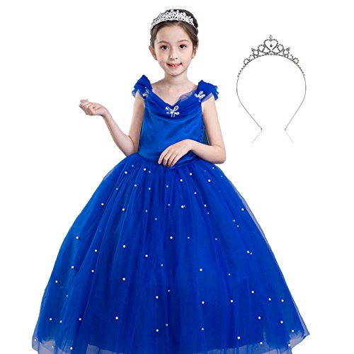 (Mädchen Schulterfrei Cinderella Kostüm Schmetterling Prom Fancy Langes Kleid Party Dress up Ballkleid)