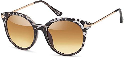 Vintage Sonnenbrille im 60er Style mit trendigen bronzefarbenden Metallbügeln Panto - Retro Brille (zebra)