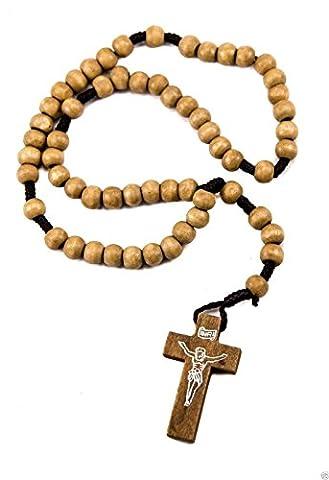 Catholique unique prière Jérusalem Jésus Crucifix chapelet perles en bois d'Olivier 12,4