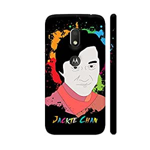 Colorpur Jackie Chan Painting On Black Designer Mobile Phone Case Back Cover For Motorola Moto G4 Play with hole for logo | Artist: Designer Chennai