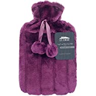CityComfort 2 Litre Hot Water Bottle with Cosy Fluffy Cover Premium Faux Fur Bag Large 2L (Orchid Purple)