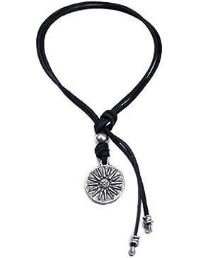 Beau Soleil Jewelry Lederkette Damen und Herren mit Sonnen Symbol Anhänger Schmuckkette Münzen-Anhänger individualisierbar...