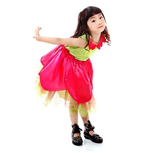 Byjia Kindertag Bühne Tanz Performance Blumenmädchen Kleider Große Skala Darstellende Kunst Kleidung Chor Party Party Cheerleading Gruppe Team . Red And Green . 140Cm (Kunst Schule Halloween Kostüme)