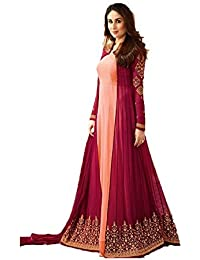 Aadhya Creation Women's Silk Latest Designer Pink Colour Semi Stitched Embroidred Party Wear Wedding Special Gowns...