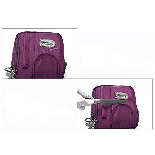 Viaggi sacchetto esterno casual impermeabile in nylon a tracolla diagonale borsa pacchetto , black Purple