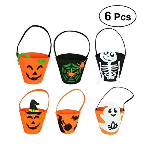 HEALIFTY 6pcs Halloween Candy Bag Kürbis Handtasche Hexe Bat Goodies Halter Süßes oder Saures für Kinder Cookies Geschenke (zufällige Muster)