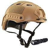 QMFIVE Airsoft Helm PJ Mode Helme Leichtbau Taktische Schnelle Helm und Schutzbrille für Airsoft Paintball (Wüste+L)