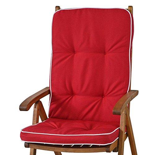 6 Auflagen für Hochlehner Sessel Sun Garden Tomiro 50077-33 rot weiß ohne Sessel