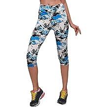 Beikoard - Pantalon de Yoga de Poche pour Femme Taille Haute Poche Imprimé  Sport Gym Yoga a777ef9c34b