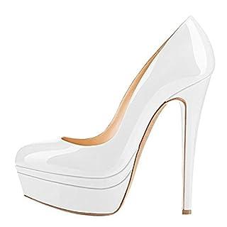 Damenschuhe Pumps High-Heels Stiletto mit Plateau Rutsch Hochzeit Weiß EU38